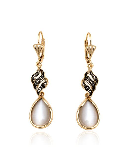 Peermont - Metallic Gold And White Crystal Teardrop Drop Earrings - Lyst