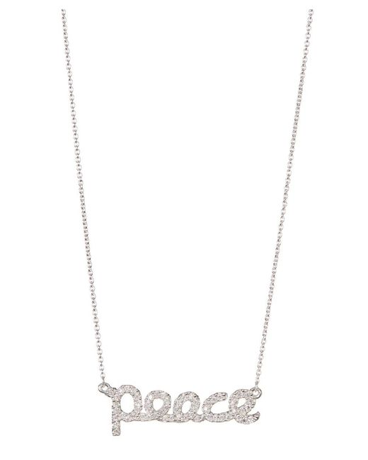 Adornia - Metallic Sterling Silver And Swarovski Crystal Cursive Peace Necklace - Lyst