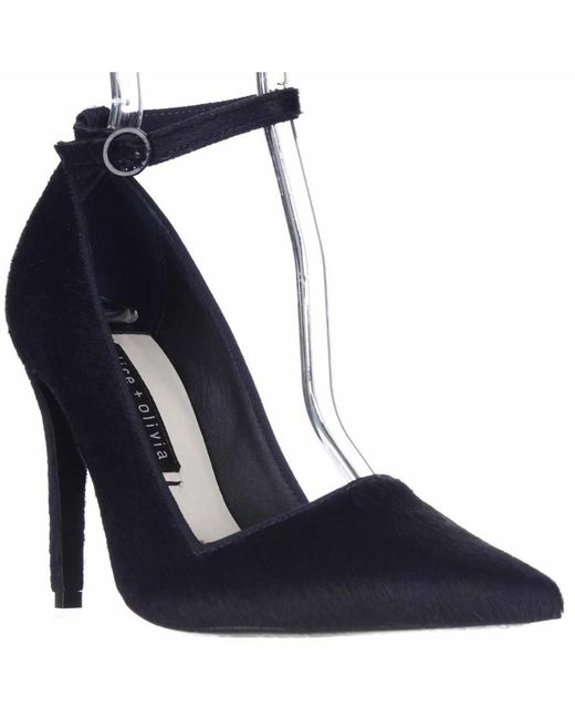 Alice + Olivia | Blue Alice And Olivia Makayla Pointed Toe Ankle Strap Heels - Navy | Lyst