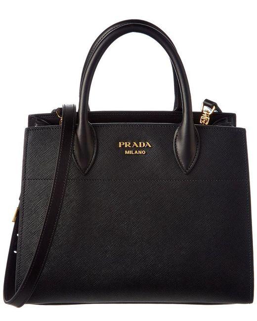 1b1283a991a8 Prada - Black Bibliothque Saffiano   Calf Leather Double Handle Tote - Lyst  ...