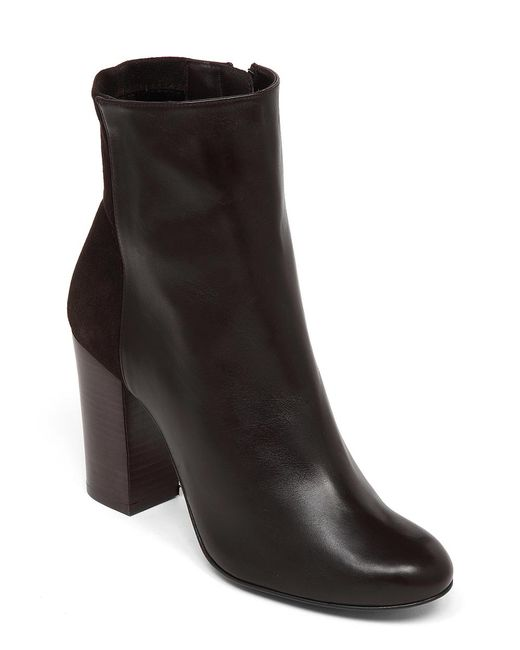 Delman | Brown Stretch Leather Nyla Ankle Booties | Lyst