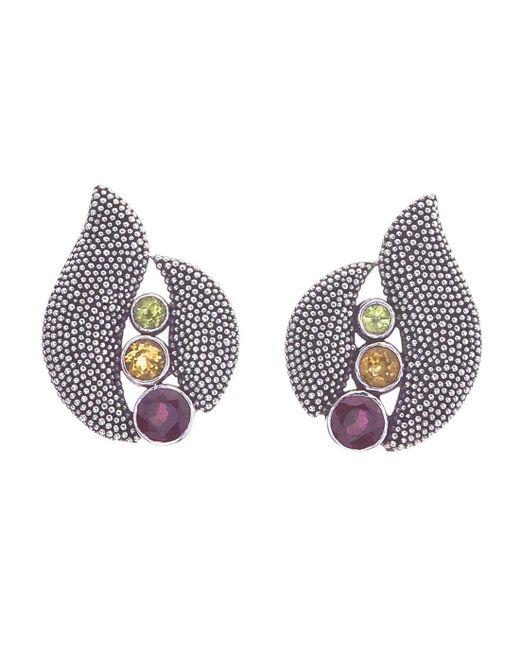 Jewelista - Multicolor Oxidized Silver Citrine, Garnet & Peridot Earring - Lyst
