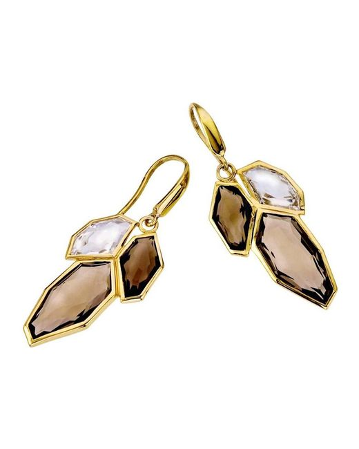 Jewelista - Yellow 18k Vermeil White & Smoky Quartz Earrings - Lyst