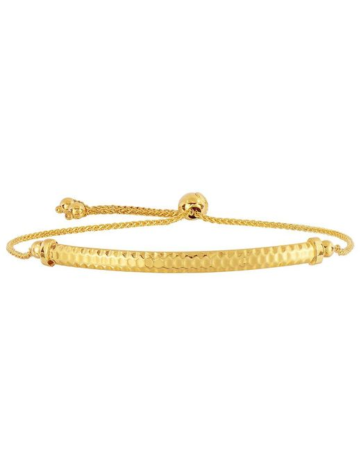 JewelryAffairs - 14k Yellow Gold Diamond Cut Round Wheat Bracelet With Diamond Cut Arched Bar, 9.25 - Lyst