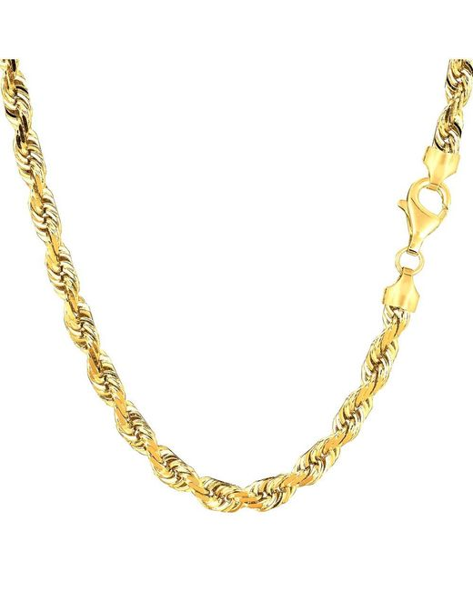 JewelryAffairs - 14k Yellow Gold Solid Diamond Cut Royal Rope Chain Necklace, 5.0mm, 30 Inch - Lyst