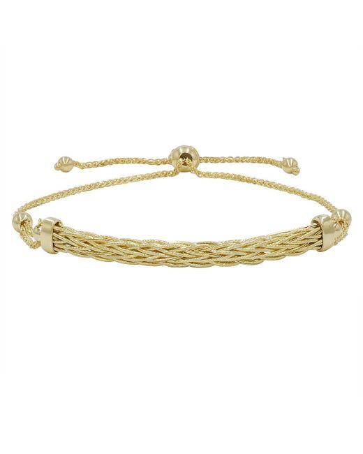 Amanda Rose Collection - Metallic 14k Yellow Gold Diamond Cut Bolo Bracelet (adjustable Up To 9 1/4 In.) - Lyst