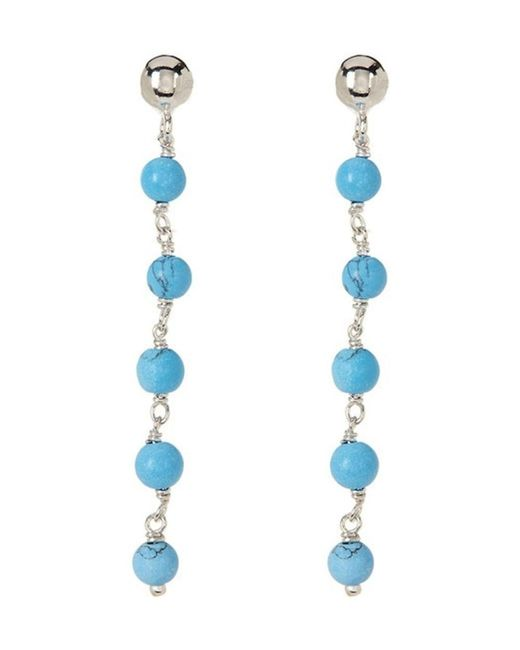 Adornia | Blue Dangle Earrings Silver With 5 Turquoise Beads | Lyst