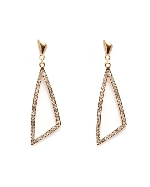 Peermont - Metallic Gold And White Swarovski Elements Open Triangle Earrings - Lyst