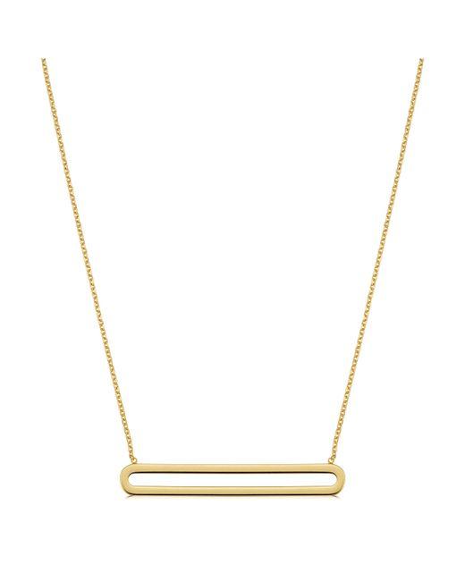 "JewelryAffairs - Metallic 14k Yellow Gold Oval Bar Pendant Necklace, 18"" - Lyst"