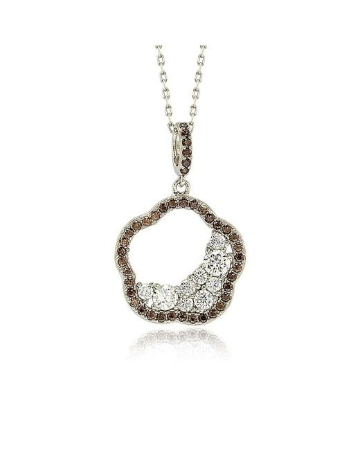 Suzy Levian | Brown Sterling Silver Chocolate Cubic Zirconia Half Moon Cluster Flower Pendant | Lyst