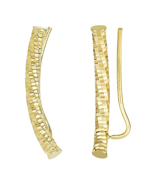 JewelryAffairs - 14k Yellow Gold Shinny Diamond Cut Round Tube Curved Climber Earrings - Lyst