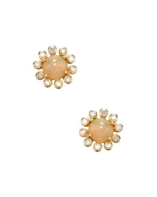 Adornia - White Opal Cabochon And Diamond 18k Yellow Gold Floral Halo Studs - Lyst