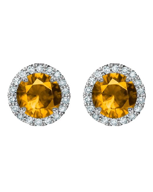 Tia Collections - Orange 5mm Gemstone And Diamond Halo Earrings - Lyst