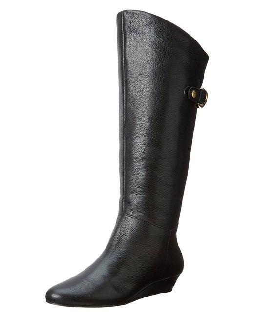 Steven by Steve Madden - Black Womens Inntense Leather Almond Toe Mid-calf Fashion Bo... - Lyst