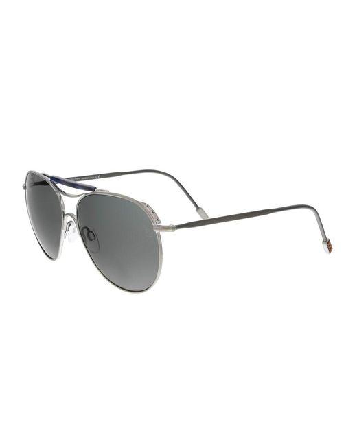 Ermenegildo Zegna | Metallic Zc0021 17a Silver Aviator Sunglasses for Men | Lyst