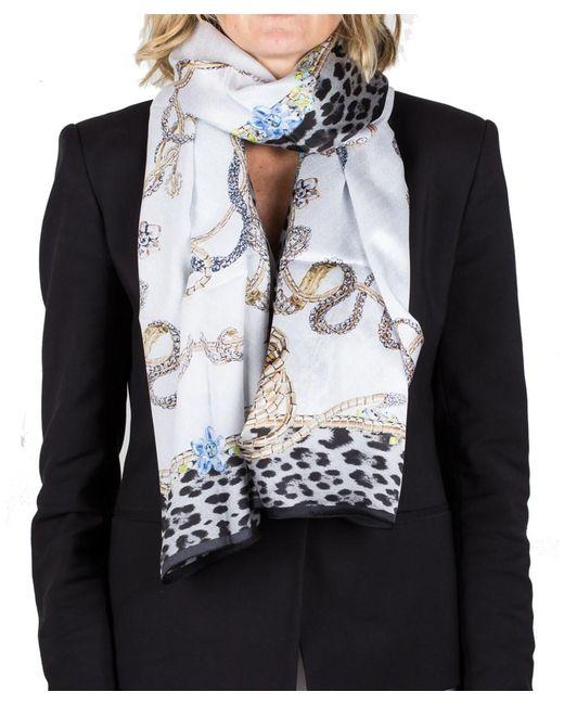Roberto Cavalli | White Women's Logo Floral Animal Print Silk Scarf Large | Lyst