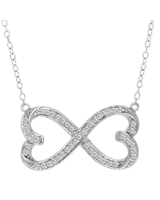 JewelryAffairs - White Double Heart Infinity Sign And Cz Necklace In Sterling Silver, 18 - Lyst
