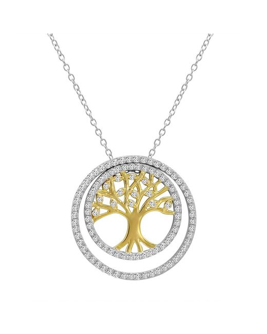 Amanda Rose Collection | Metallic Two Tone 3-in-1 Cz Tree Of Life Pendant-necklace In Sterling Silver On A 18 In. Chain | Lyst