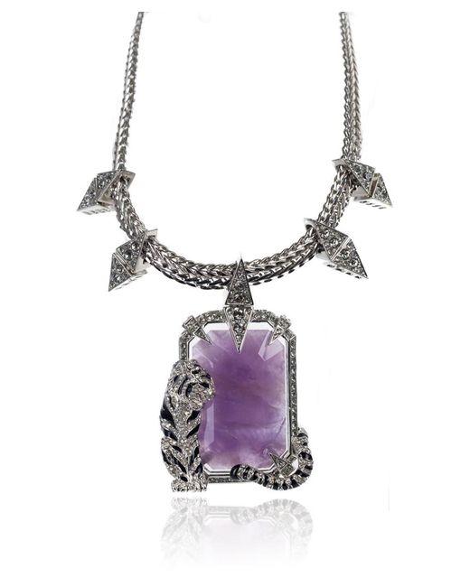 Roberto Cavalli - Metallic Purple Enamel Swarovski Crystal Tiger Necklace - Lyst