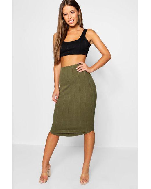 c73c24beea Boohoo - Multicolor Petite Bandage Curve Hem Midi Skirt - Lyst ...