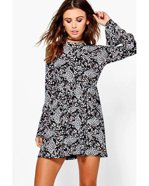 Boohoo | Black Petite Melissa Frill Sleeve Smock Dress | Lyst