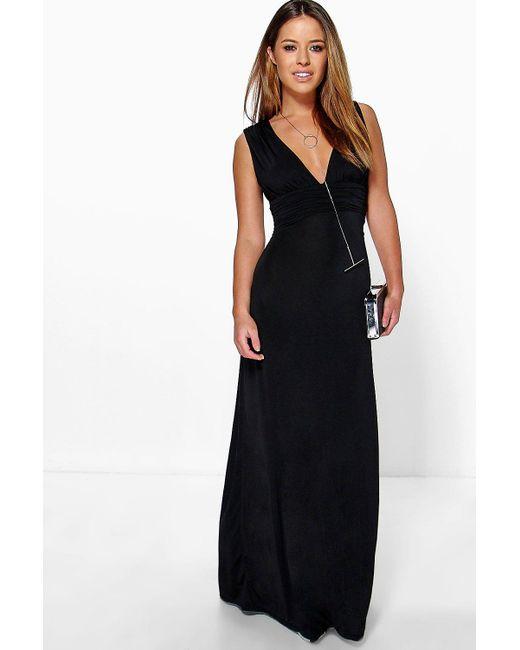 Boohoo - Black Petite Plunge Ruched Maxi Dress - Lyst