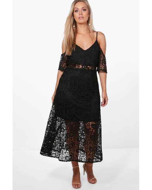 c3b92672528e Boohoo - Black Plus Crochet Lace Premium Skater Dress - Lyst ...