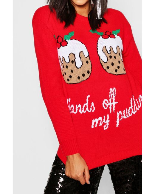 d19477a8c027b ... Boohoo - Red Christmas Pudding Jumper - Lyst
