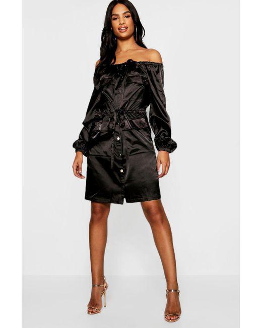 d9d41ffc33c6 Boohoo - Black Tall Satin Bardot Utility Pocket Dress - Lyst ...