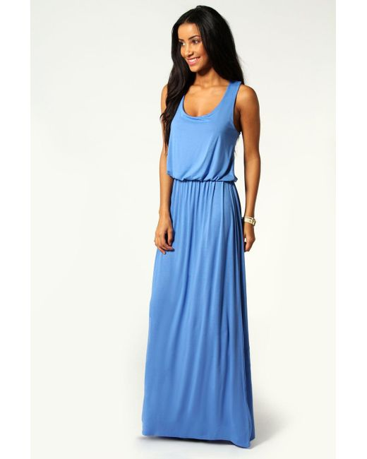 Boohoo - Blue Racer Back Maxi Dress - Lyst