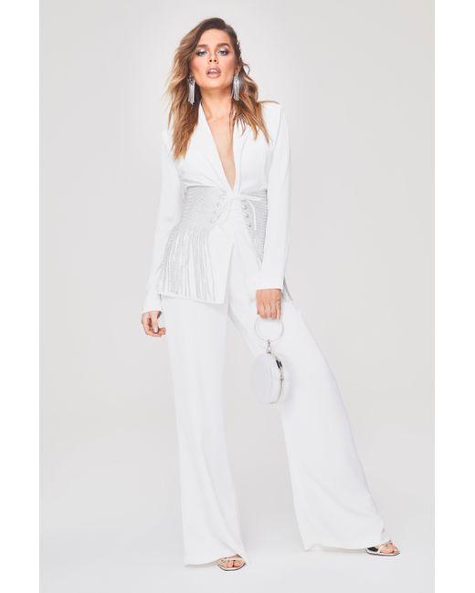 d893fcd631b8 Boohoo - White Premium Tailored Wide Leg Trouser - Lyst ...