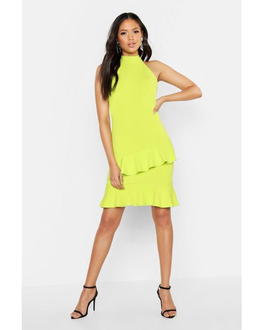 1013e3d83c74 Boohoo - Yellow Tall Halter Neck Double Ruffle Mini Dress - Lyst ...