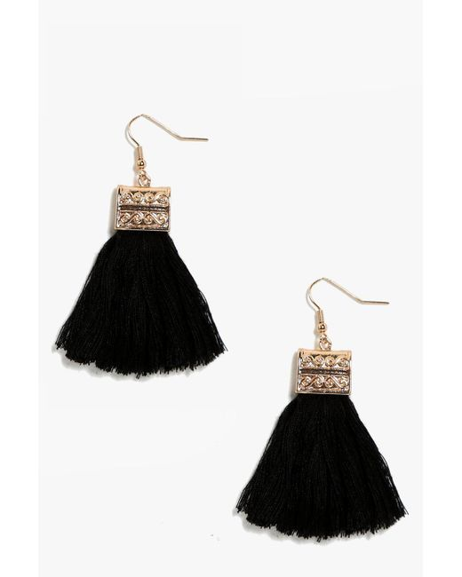Boohoo - Black Engraved Detail Tassel Fringe Earrings - Lyst