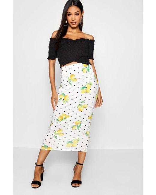 Boohoo - White Lemon Print Midaxi Skirt - Lyst