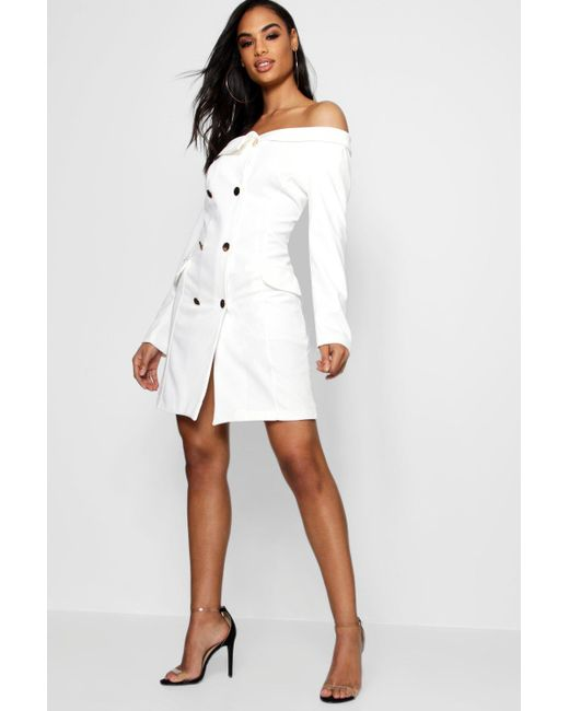 Boohoo - White Maisie Double Breasted Off The Shoulder Blazer Dress - Lyst  ...