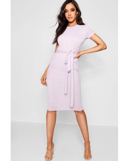 Boohoo - Purple Tie Waist Fitted Dress - Lyst