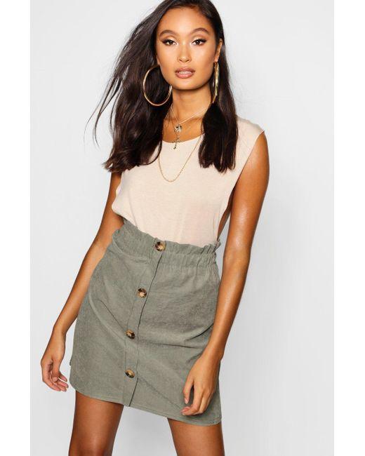 ed507ec7bd Boohoo - Natural Woven Linen Button Through Mini Skirt - Lyst ...