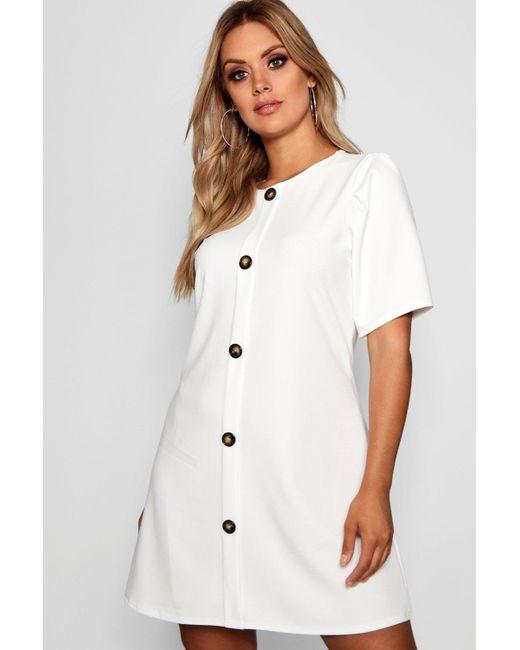 536b409475e29 Boohoo - White Plus Crepe Horn Button Puff Sleeve Shift Dress - Lyst ...