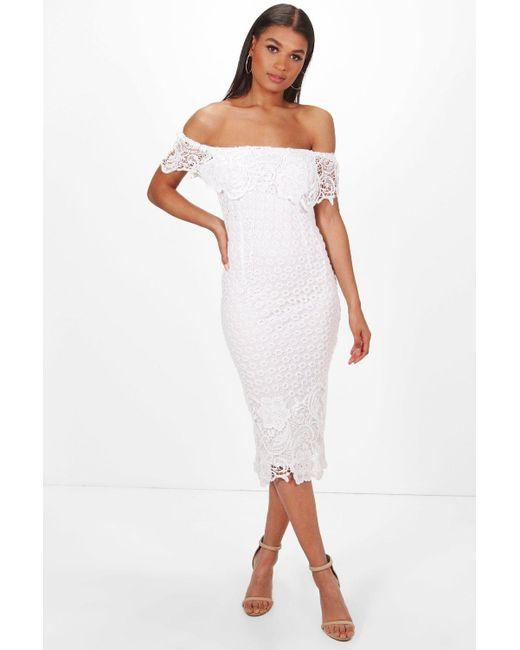 9c8edcbf68b3 Boohoo - White Boutique Lace Off Shoulder Midi Dress - Lyst ...