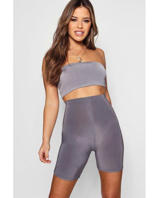 Boohoo - Purple Petite Slinky High Waisted Cycling Short - Lyst