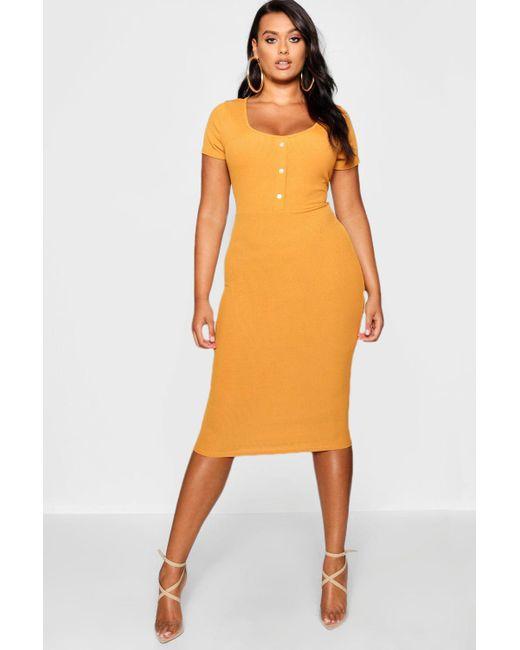 8ffb7ae7b2fb Boohoo - Orange Plus Rib Button Detail Short Sleeve Midi Dress - Lyst ...