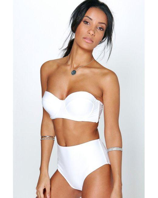 42251888ea1cd Boohoo - White Longline Underwired H w Bikini - Lyst ...