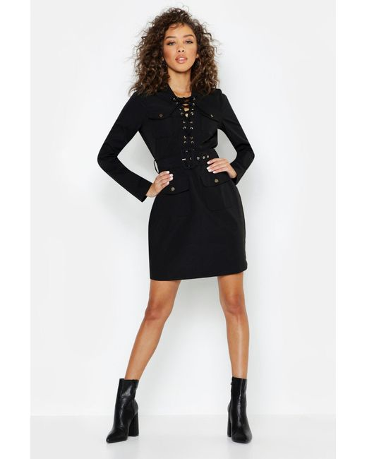 Womens Black Lace Up Front Utility Mini Dress
