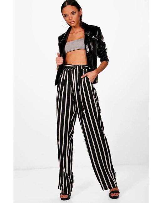354ac34527615 Boohoo - Black Tall Wide Leg Stripe Trousers - Lyst .