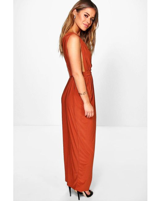 c78a8ff6c0a3 ... Boohoo - Red Petite Plunge Drape Maxi Dress - Lyst