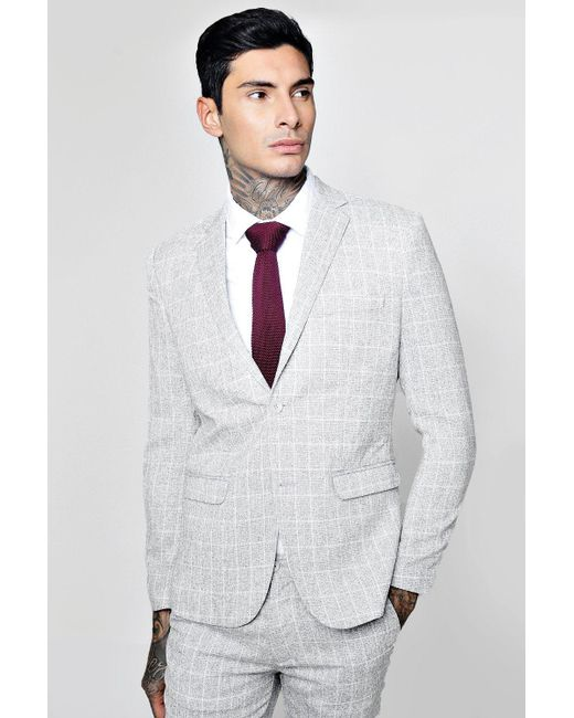 4c834cc8440d Clothes, Shoes & Accessories Boohoo Mens Window Pane Check Skinny Fit Suit  Jacket