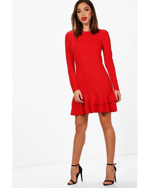 0303c7d8bac0 Boohoo - Red Ruffle Hem Long Sleeve Dress - Lyst ...