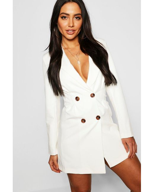 1d200ec047cb Boohoo - White Utility Double Breasted Blazer Dress - Lyst ...
