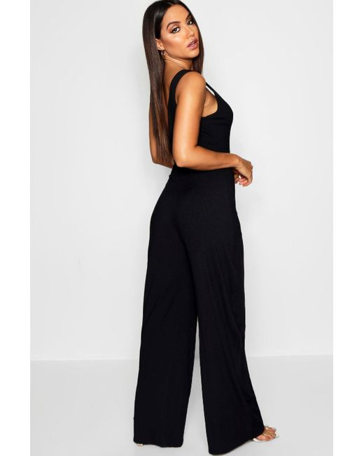 f97f0d6f15b ... Boohoo - Multicolor Horn Button Rib Tie Belt Pocket Jumpsuit - Lyst ...