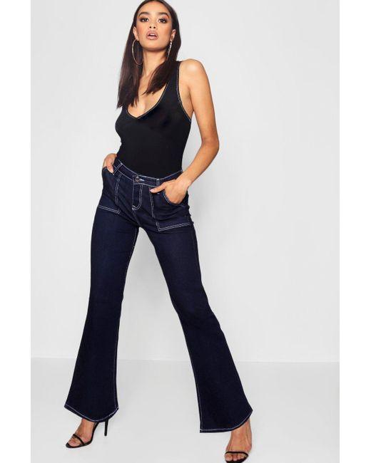 7ea51387602a Boohoo - Blue High Waist Contrast Stitch Straight Leg Jeans - Lyst ...